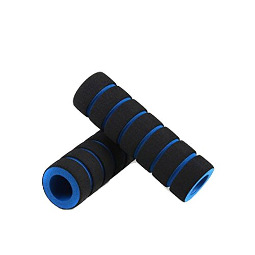 Makalon 1pair Bike Racing Bicycle Motorcycle Handle Bar Foam Sponge Grip Cover Non-slip (Blue)