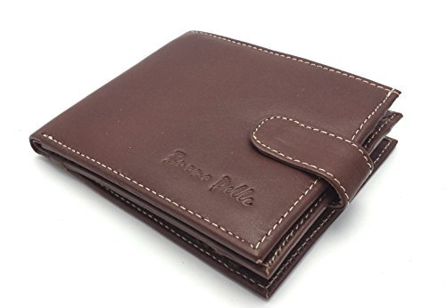 Zipped Coin Pocket (Buono Pelle Rfid Blocking Real Soft Leather Wallet With Large Zip Coin Pocket / Pouch One size Brown)