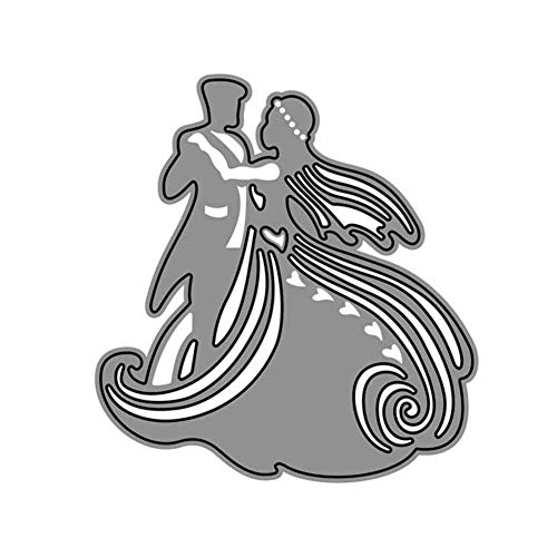 StaunchWea Die Cut, Lovely Bride Groom/Heart Shape Cutting Dies, Metal Embossing Paper Craft for DIY Scrapbooking Album Greeting Birthday Card Decor Bride Groom