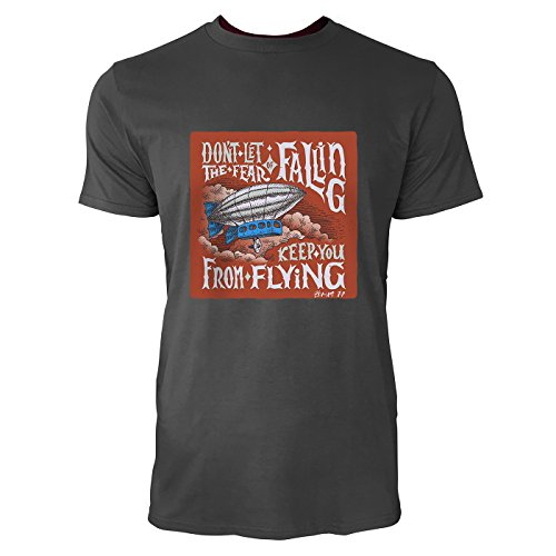 SINUS ART® Don't Let The Fear Of Falling Keep You From Flying Herren T-Shirts in Smoke Fun Shirt mit tollen Aufdruck