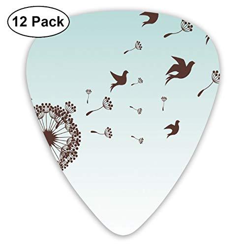 - Guitar Picks - Abstract Art Colorful Designs,Dandelion Flower Arrangement Petals Doves Flying Silhouettes Fantasy Blooms Print,Unique Guitar Gift,For Bass Electric & Acoustic Guitars-12 Pack