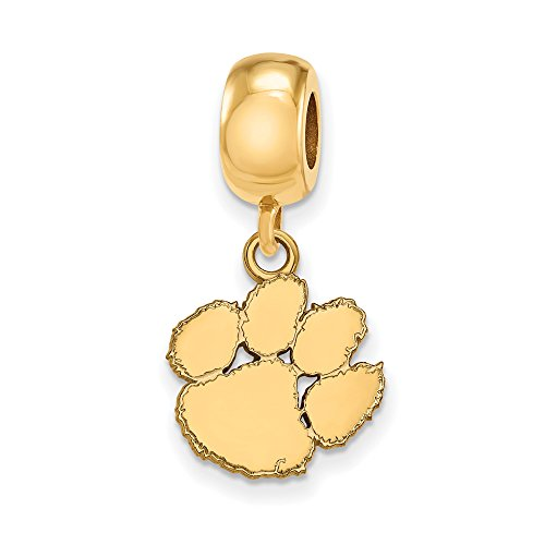 LogoArt NCAA 14k Yellow Gold Plated Sterling Silver Clemson University Small Dangle Bead Charm by LogoArt