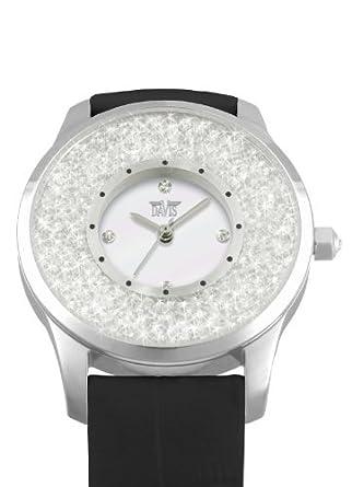 Davis 1783 - Damen Strass Uhr Kristall Swarovski Ziffernblatt Weiß Armband Leder Schwarz