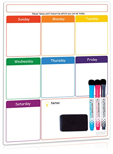 Magnetic Dry Erase Weekly Calendar for Fridge with Stain Resistant Technology  16 x 12 in  Includes 3 Premium Markers and Big Eraser  Weekly Calendar Whiteboard  Refrigerator White Board Planner