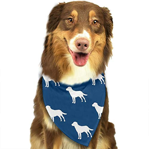 Dog Bandana Scarf Labrador Silhouettes On Navy Funny Novelty Classic Triangle Bibs Kerchief Set Accessories for Cats Pets Animals ()