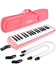 Eastar Melodica Instrument Pianica 37 Keys with Long Pipe 2 Short Mouthpieces and Carrying Bag Air Piano Keyboard, Pink