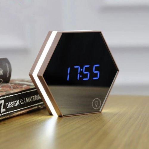 Multifunction Mirror Alarm Clock LED Mirror Digital Alarm Clock Thermometer Creative Gift Makeup Mirror Night Light-Gold