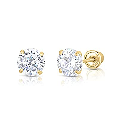 14K Solid Yellow Gold CZ Stud Earrings Basket Set Round Clear CZ Screw Back 2.5mm-8mm