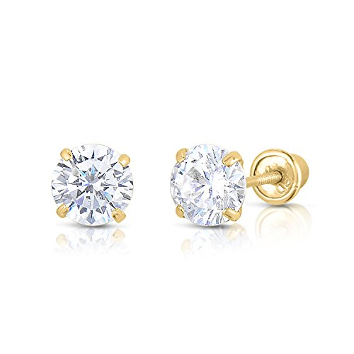 14K Solid Yellow Gold CZ Stud Earrings Basket Set Round Clear CZ Screw Back 3mm