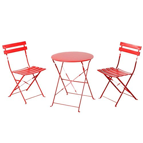 Grand patio Indoor Yard Sturdy Table and 2 Folding Chairs Patio Bistro Sets of 3 Furniture,Red - Bistro Cafe Tables
