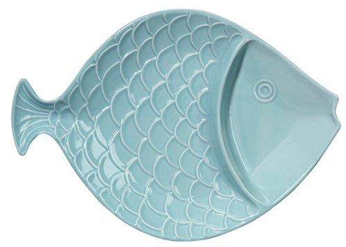 Coastal Shaped Fish Divided Serving Bowl 15 Inch Light Aqua Andrea by Sadek