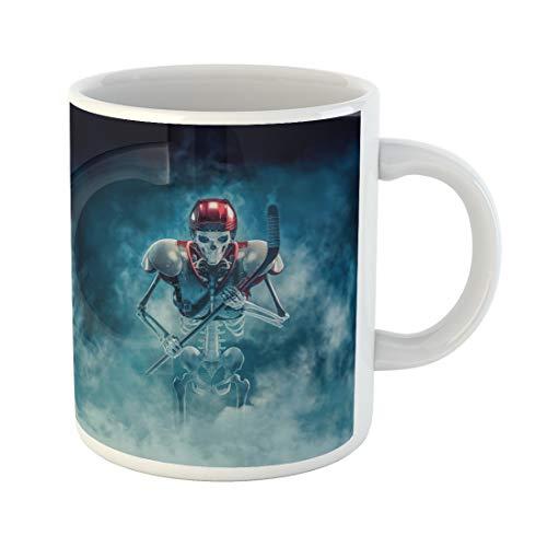 Semtomn Funny Coffee Mug the Phantom Hockey Player 3D of Scary Skeleton Ice 11 Oz Ceramic Coffee Mugs Tea Cup Best Gift Or -