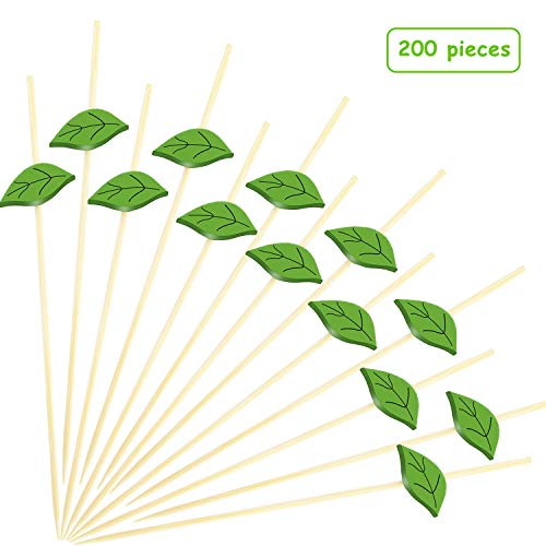 200 Pieces Cocktail Picks 4.7 Inch Bamboo Food Picks Sandwich Appetizer Cocktail Picks Fruit Toothpick for Hawaii Wedding Birthday Beach Party Supplies, Green Leaves ()