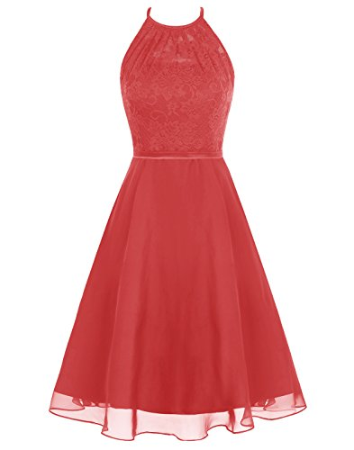 Wedtrend Women's Short Halter Lace Bridesmaid Dress Hollow Back Homecoming Dress WT12087Red 2