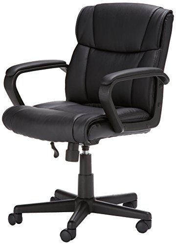 AmazonBasics Classic Leather-Padded Mid-Back Office Desk Chair with Armrest - Black