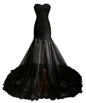 Zorabridal Vintage Gothic Mermaid Beaded Lace Black