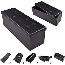 Casart Folding Storage Ottoman Faux Leather Large Bench Foot Rest Pouffe Box Stool Seat Folding Storage Box, Black (black)
