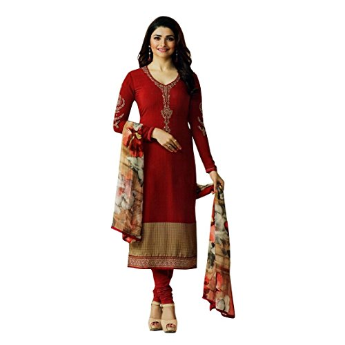 Designer Italian Crepe Embroidery Readymade Salwar Kameez Indian – 0X Plus, Red