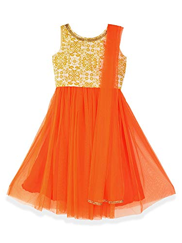 K&U Girls' Offwhite and Orange Cotton Net Sleeveless Lehenga Choli