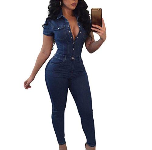 Front Tight Stretch Denim Pant Jeans Jumpsuits Rompers Blue US XL (Blue Denim Jumper)
