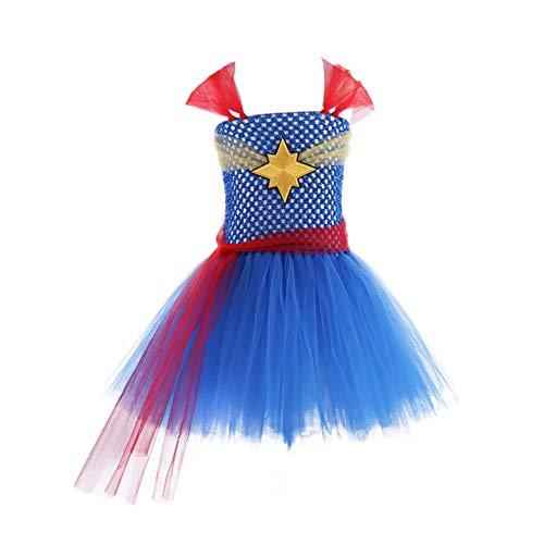 Girl's Superhero Captain Dress, Carol Danvers Costume, Tutu Dress for Toddlers, L Blue]()