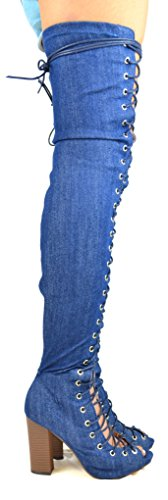 Boot Heel Women's Dark Up Chloe Denim 12 Peep Toe Lace High Chunky Chase amp; Blue Thigh Benjamin A4xXXO