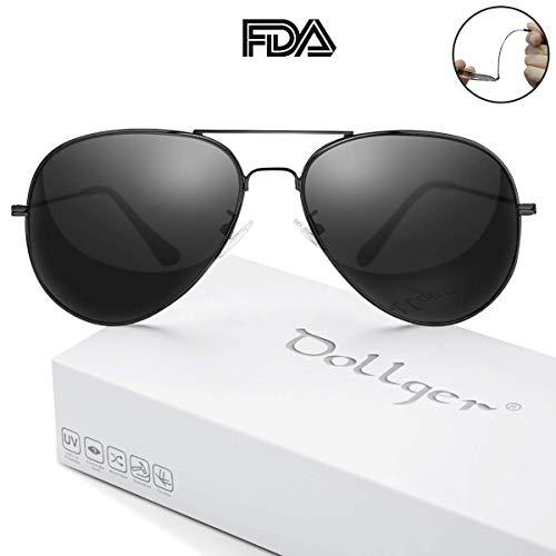 478fbfe0092bd Polarized Sunglasses for Men Women Mirrored Sun Glasses Classic Style -  UV400 Protection Black