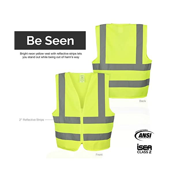Neiko 53941A High Visibility Safety Vest, Large, Neon Yellow 2