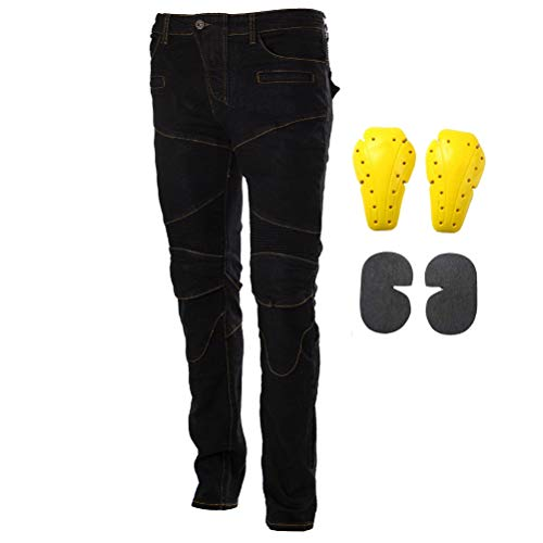 Motorcycle Riding Jeans Armor Racing Cycling Pants with 4 Knee Hip Protective Pads (M=30, Black)
