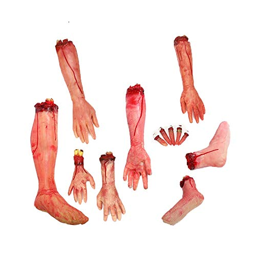 BaronHong Terror Severed Bloody Fake Arm Hand Leg Kit for Halloween Party Props Decorations(Nude,M)