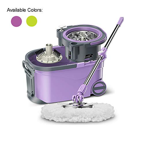 HoMettler Easy Ring Spin Mop Wringer Bucket System Double-Device with 2 Microfiber Head Replacement, Purple with Wheels