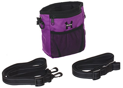 Purple Dog Treat Bag – Treat Training Pouch for Small, Medium and Large Dogs with Built-In Poop Bag Dispenser, Waist and Shoulder Reflective Straps and Belt Clip – Puppy and Adult Dog Treats Tote Bag For Sale