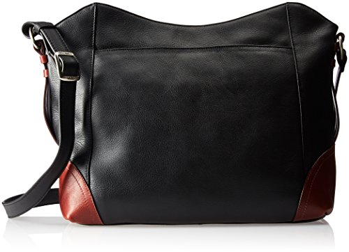 Derek Alexander East/west Top Zip Shoulder Bag, Black/Brandy