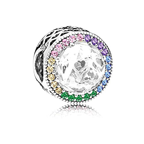 Romántico Amor Multi-Color Radiant Hearts Charm 925 Sterling Silver Bead fit Pandora Bracelets