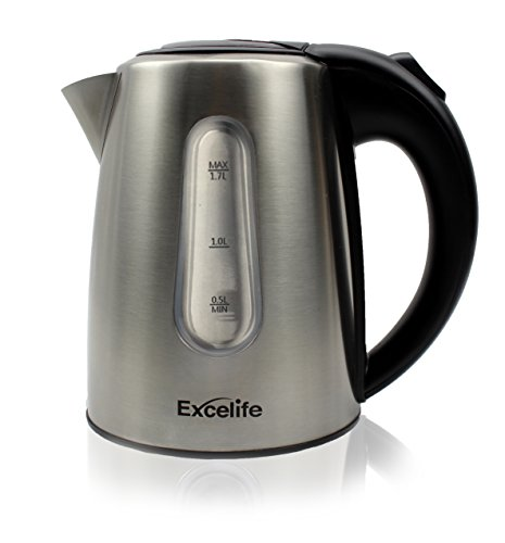 1.7 Liter Premium 304 Food Grade Stainless Steel Kettle. 1500 Watts, Auto Shut Off, Boil-Dry Protection, and BPA Free. Safety Locking Lid and Cord Storage. by Excelife