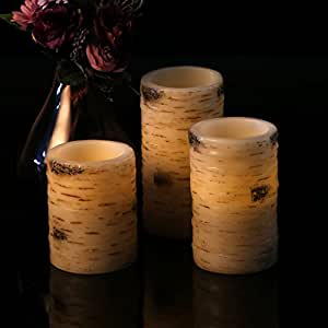 Antizer Flameless Candles With The effect Of Birch Bark Set Of 3 Include 10 Key Remote Control With 24 Hours Timer Function