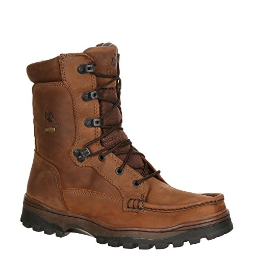 (Rocky 8729 Men's Outback Moc-Toe 9-in Boot Brown 8 M US)