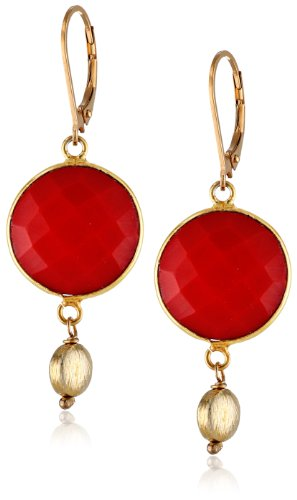 [Gold-Plated Sterling Silver Simulated Red  Coral Drop Earrings] (Simulated Coral Earrings)