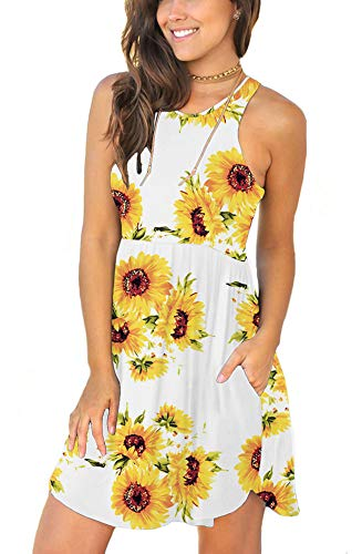 LONGYUAN Women's Floral Summer Work Casual T Shirt Dresses Sleeveless Midi Beach Dress with Pockets SF White S