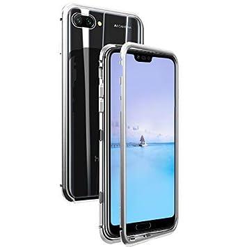 MoEvn Funda Huawei Honor 10, Honor 10 Magnetismo Case, Transparente Carcasa de Metal Combinación 360 Grados Protección, Vidrio Templado Volver Tapa ...