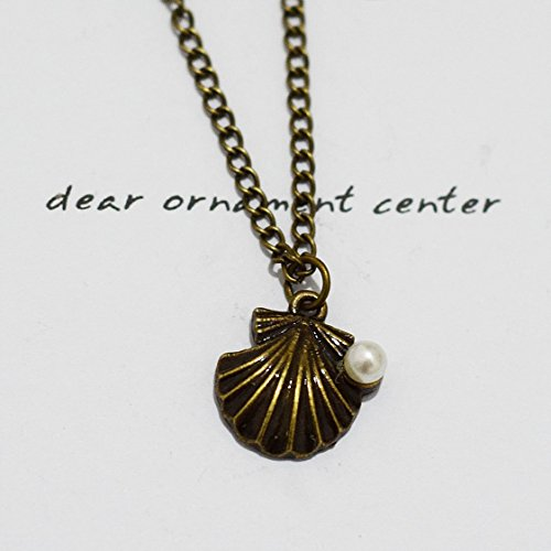 Brass Shell Locket Vintage Shell Locket Pendant Necklace Bronze Shell Necklace Long Chain Necklace