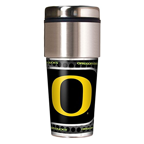 NCAA Oregon Ducks Travel Tumbler with Metallic Wrap, 16 oz, - In Shopping Oregon Bend