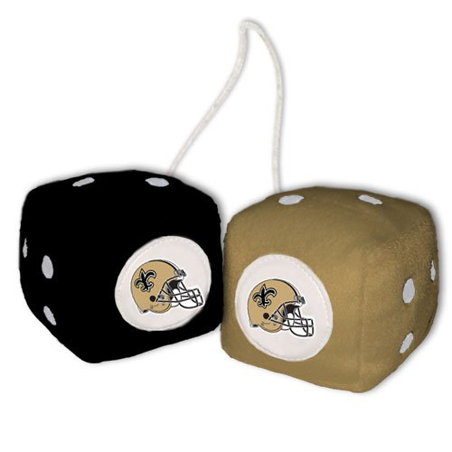 NFL New Orleans Saints Fuzzy Dice,one black, one gold w/ - New Mall Orleans Outlet