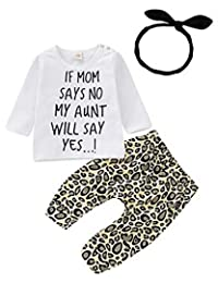 SUPEYA Baby Girls Long Sleeve My Aunt Says Yes Shirts Tops Leopard Long Pants Heaband