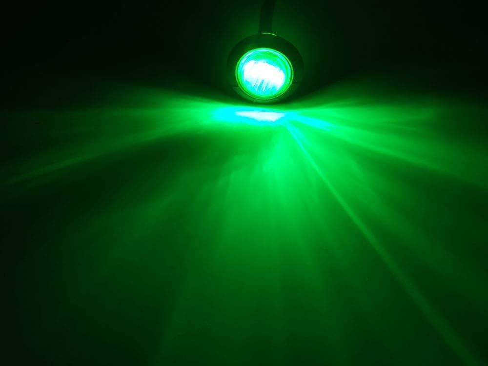 FJJ-DENG 10pcs /étanche 12V 3LED 3//4 Remorque C/ôt/é Feux de gabarit arri/ère Poids Lourds Avant Feux de gabarit Lampe Ronde Vert