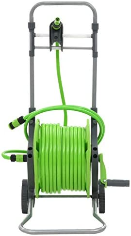 SOULONG Garden Hose Reel Manual Hose Reel with Wheels Gardena Hose Reel 2 in 1 System Trolley and Hose 45 m for Gardens and Balconies