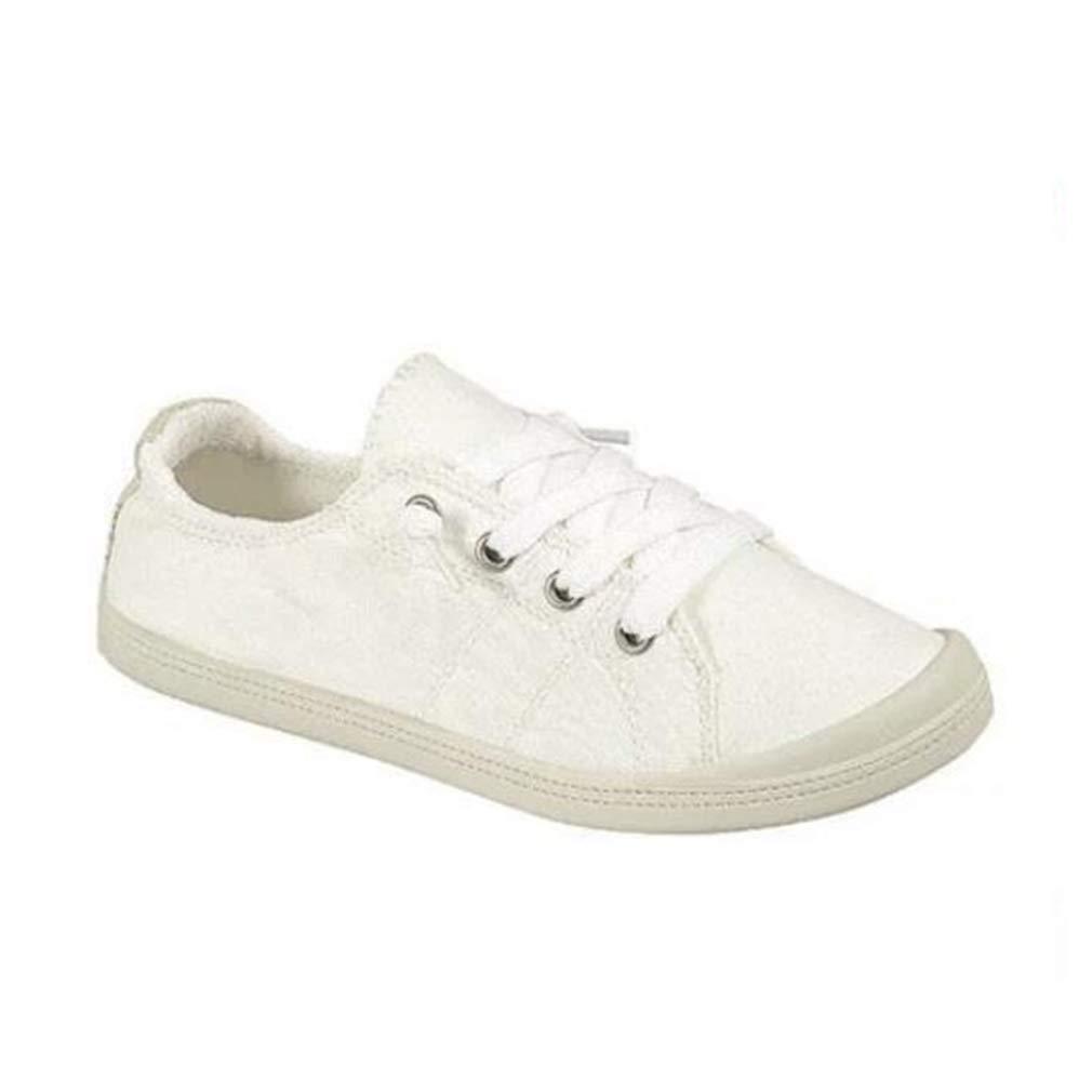 Junkai Espadrilles Sneakers pour Les Femmes Classic Canvas Sneakers Blanc Casual Lacets Walking Flats Chaussures à Lacets Confortables Blanc 92fd820 - automatisms.space