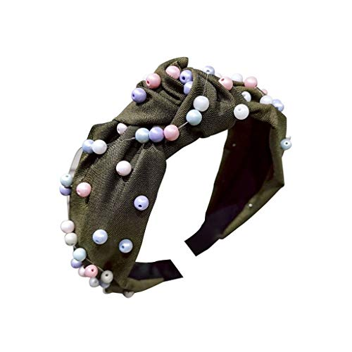 (AckfulWomens Pearl Tie Beading Headband Twist Hairband Bow Knot Cross Tie Headwrap Hair Band Hoop (B))