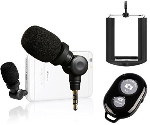 Saramonic i-Mic Professional TRRS Condenser Microphone for iPhone, iPad, iPod Touch, & Mac, IOS Devices and Android Smartphones + Ivation Smartphone Tripod Adapter and Selfie Remote Controller by Saramonic