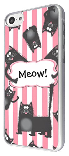 417 - Cute Multi Black Cat cat Meow Design iphone 5C Coque Fashion Trend Case Coque Protection Cover plastique et métal